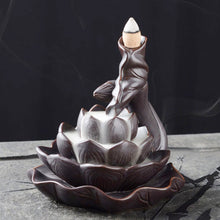Load image into Gallery viewer, Delicate Lotus Black Waterfall Burner Ceramic Backflow Incense Holder