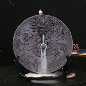 Dragon Dish Backflow Incense Burner Ceramic  +  10PCS Incense Cones