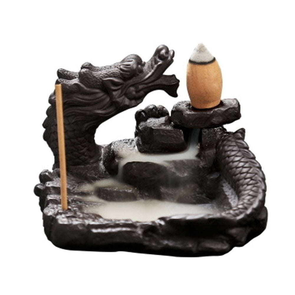Delicate Chinese Dragon Black Waterfall Burner Ceramic Backflow Incense Holder