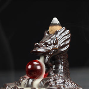 Backflow Incense Burner With Crystal Ball Dragon Incense Holder Smoke Waterfall Aroma Censer + 10Pcs Incense Cones