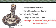 Load image into Gallery viewer, Backflow Incense Burner With Crystal Ball Dragon Incense Holder Smoke Waterfall Aroma Censer + 10Pcs Incense Cones