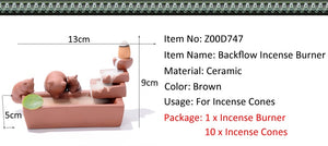 Backflow Incense Burner Home Decor Ceramic  + 10Pcs Incense Cones