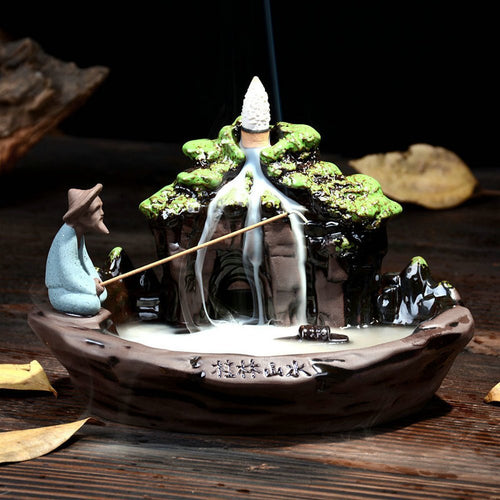 Backflow Incense Burner Ceramic Incense Holder Backflow  + 10PCS Incense Cones