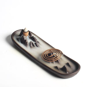 Backflow Incense Burner Ceramic Landscape Censer Incense Stick Holder Smoke Flow Waterfall Home Decor + 10PCS Incense Cones