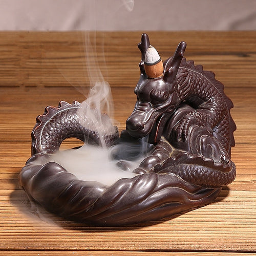 Backflow Incense Burner Ceramic Dragon Stick I+ 10PCS Incense Cones