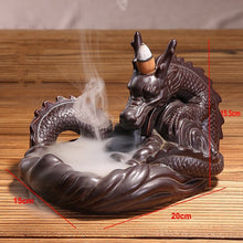 Load image into Gallery viewer, Backflow Incense Burner Ceramic Dragon Stick I+ 10PCS Incense Cones