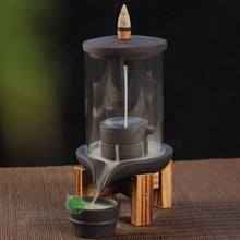 Load image into Gallery viewer, Backflow Incense Burner With Acrylic Protective Cover Ceramic + 10Pcs Free Incense Cones