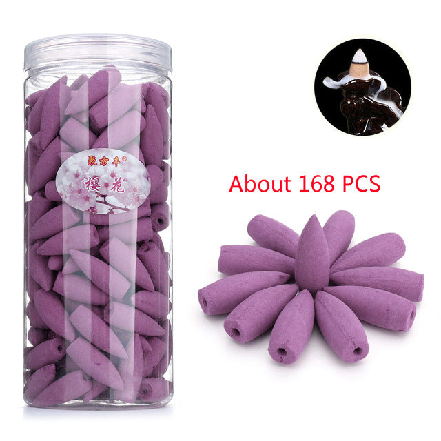 Approx 168pcs/box Incense Cones Smoke Backflow Incense Jasmine Lavender Sandalwood Fragrant Aromatherapy Indian Tibetan Cones