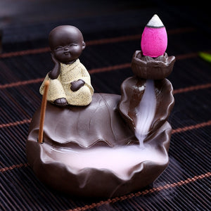 10Pcs Incense Cones + 1Pc Burner The Little Monk Censer Ceramic Waterfall Backflow Incense