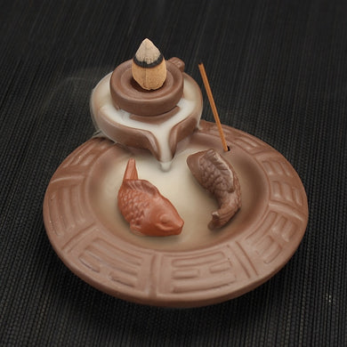 Backflow Incense Burner Ceramic Carp + 10PCS Incense Cones