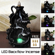 Load image into Gallery viewer, LED Ceramic Backflow Waterfall Smoke Incense Burner Censer Holder Home Office