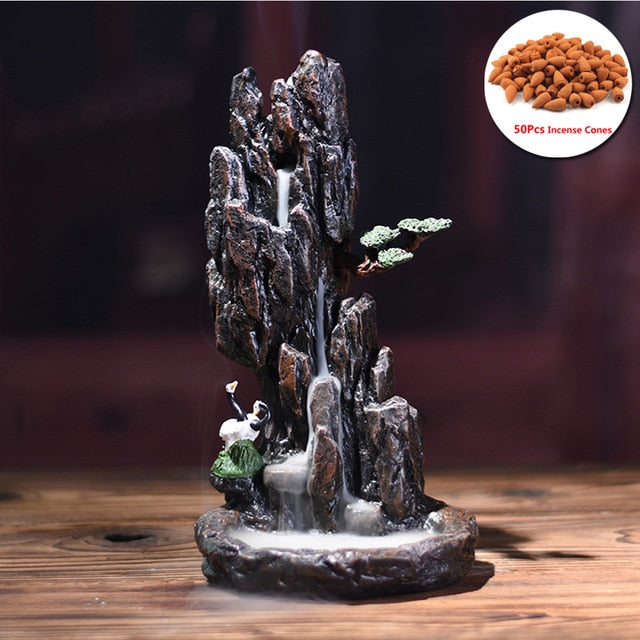 Resin Mountain Shape Smoke Waterfall Backflow Incense