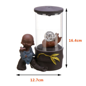 Electronic Backflow Incense Burner Creatives Home Decor LED Glowing Ball lamp Censer Smoke Waterfall