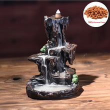 Load image into Gallery viewer, Resin Mountain Backflow Incense Burner Ceramic Censer Waterfall Stick Holder V