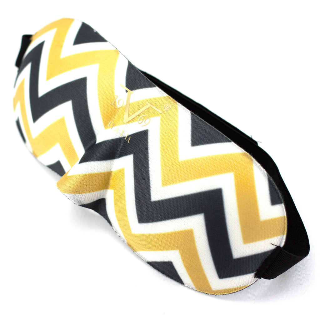 Contoured Blindfold Sleep Mask - Gold Chevron - Travellty