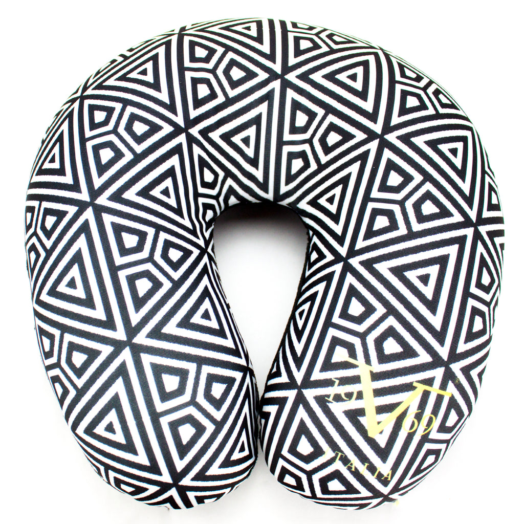 Runway Microbeads Neck Pillow - Geo Triangles - Travellty