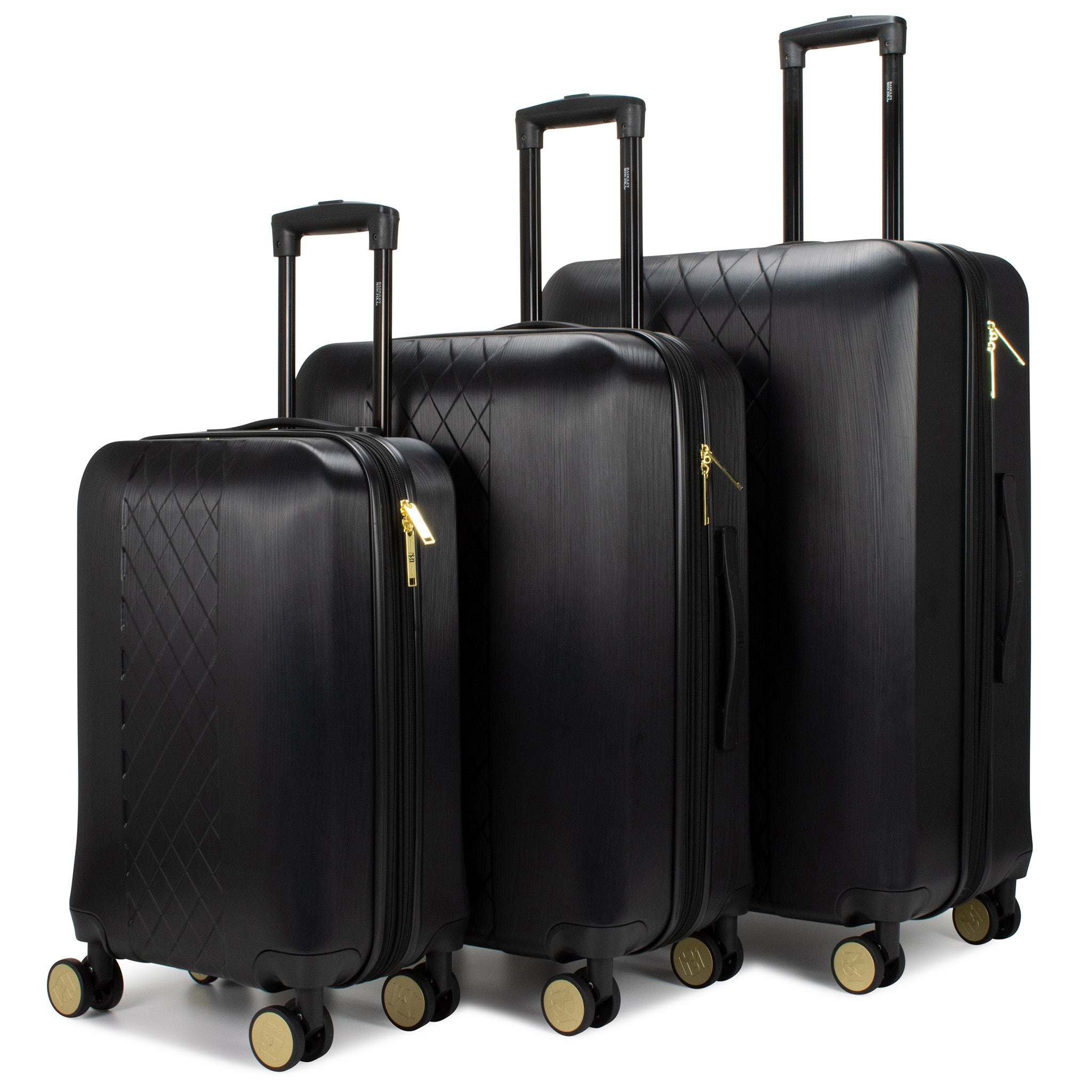 Diamond 3 Piece Expandable Hard Luggage Set (Black) - [variant_title] - Travellty