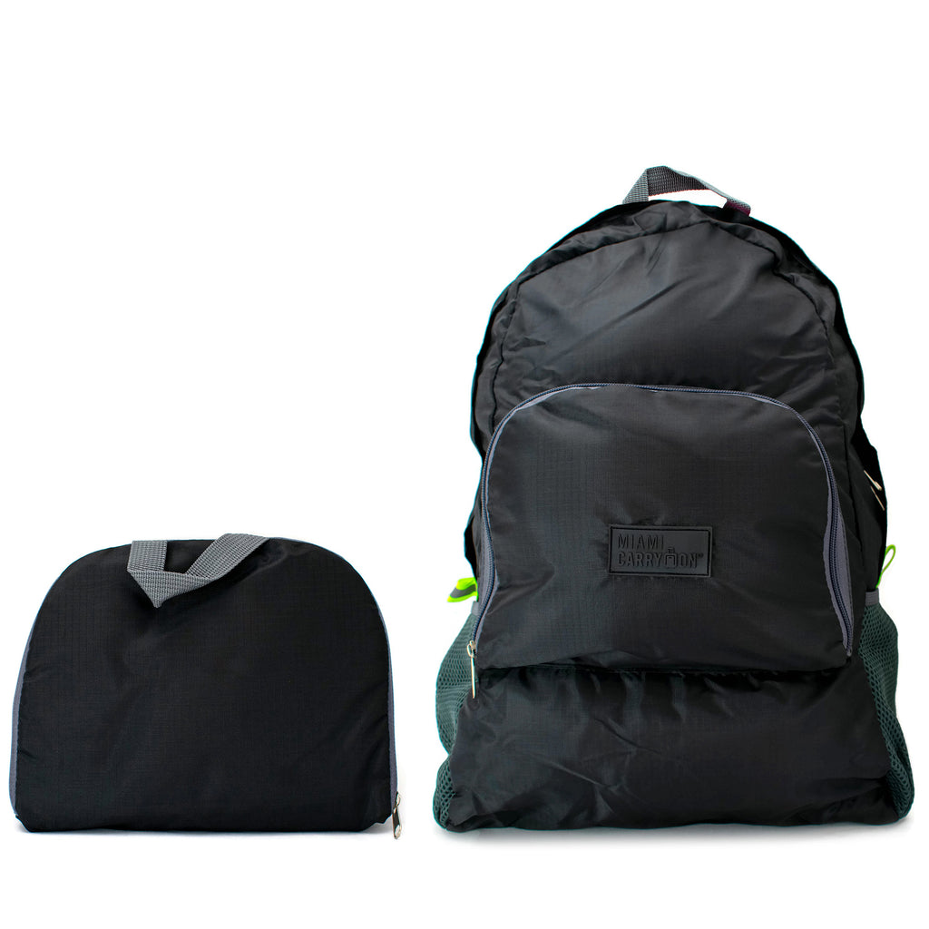 Water-resistant Foldable Backpack - Very Black - Travellty