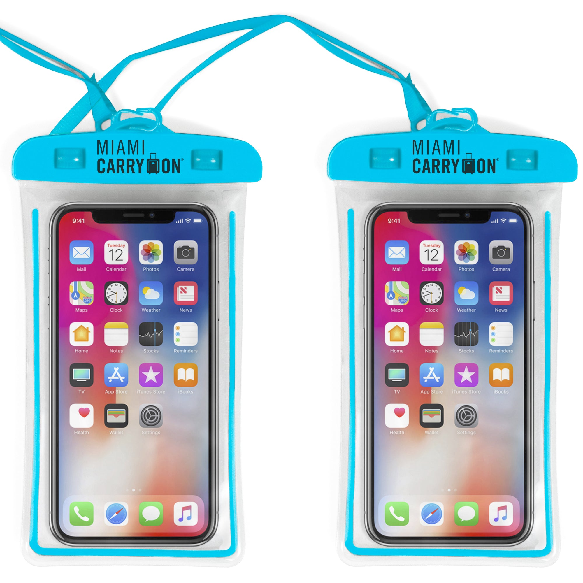 IPX8 Universal Waterproof Phone Bag - Blue / Two Pack - Travellty