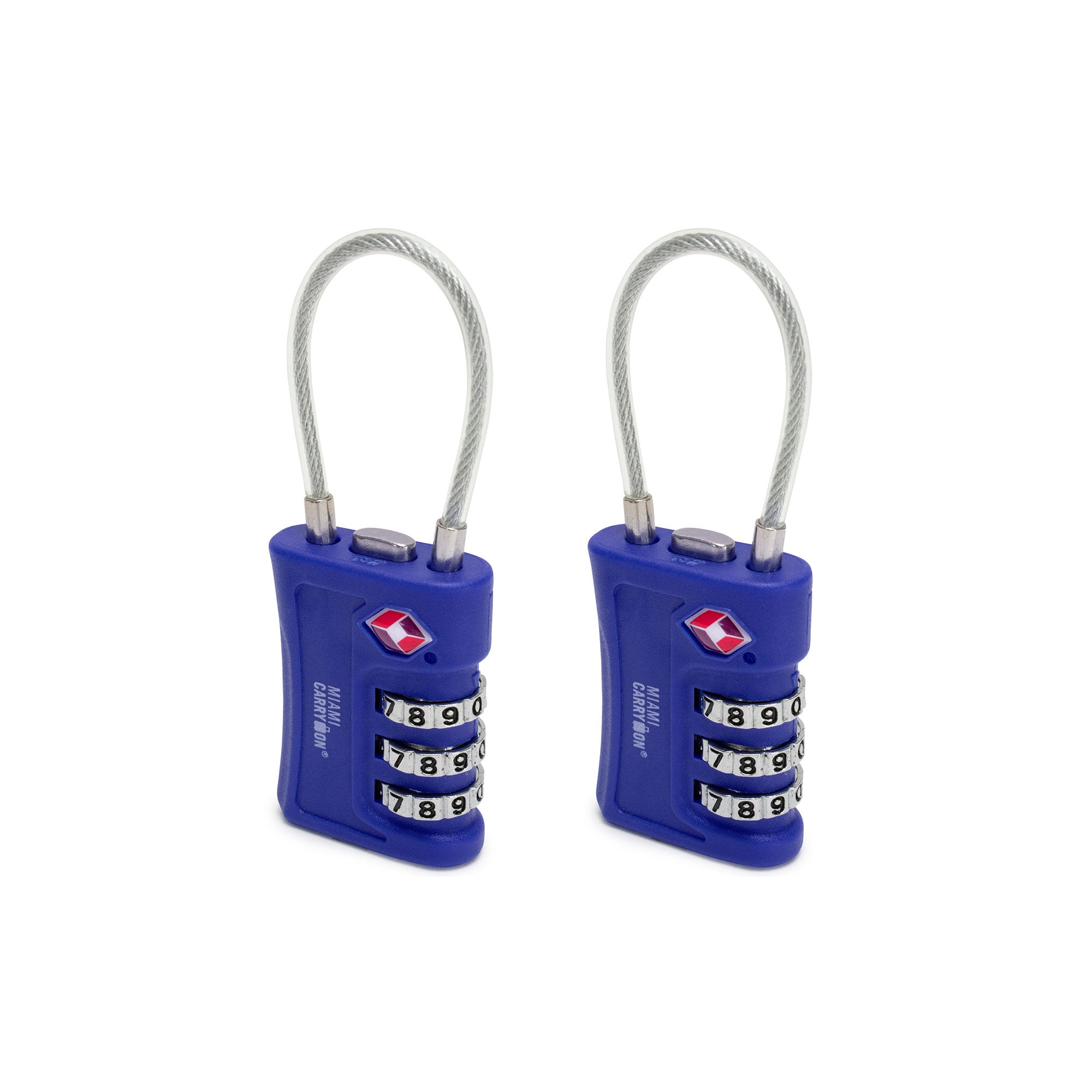 TSA Approved Cable Combination Padlock [VALUE SET] - Blue / 2 Pack - Travellty