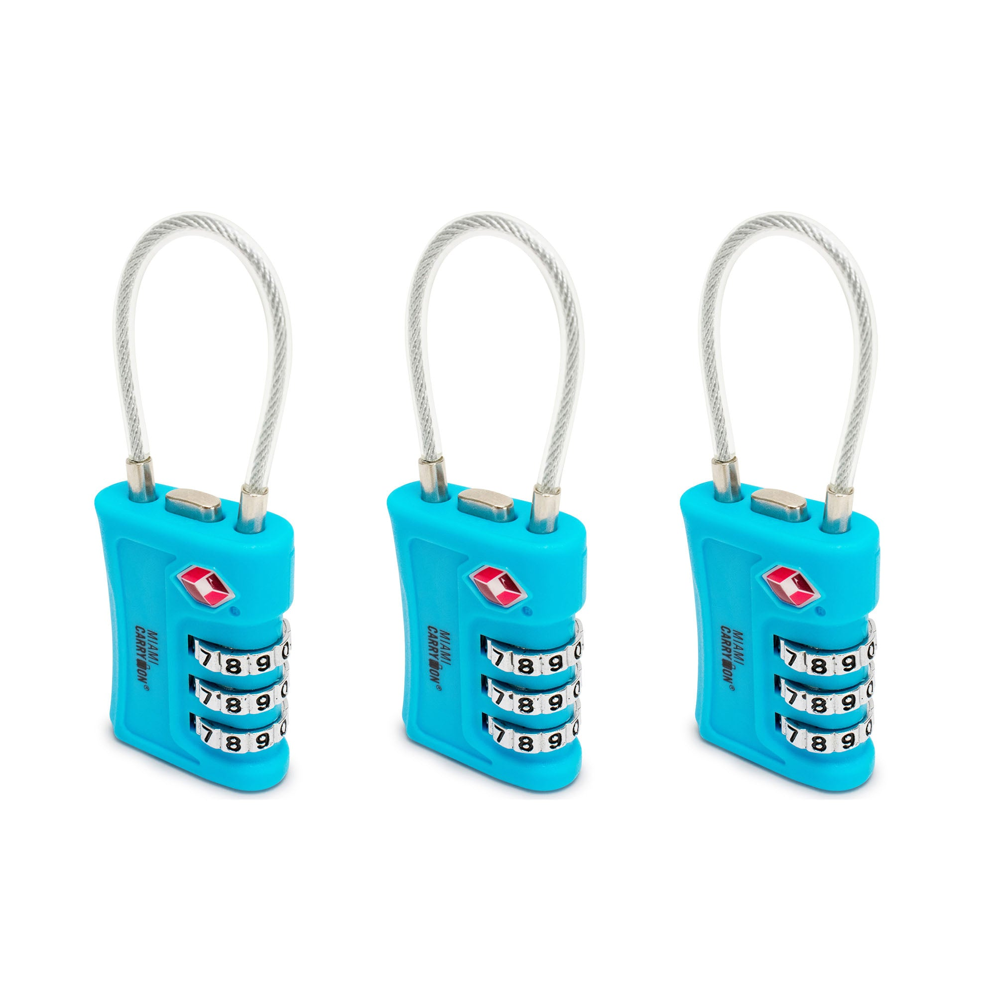 TSA Approved Cable Combination Padlock [VALUE SET] - Light Blue / 3 Pack - Travellty
