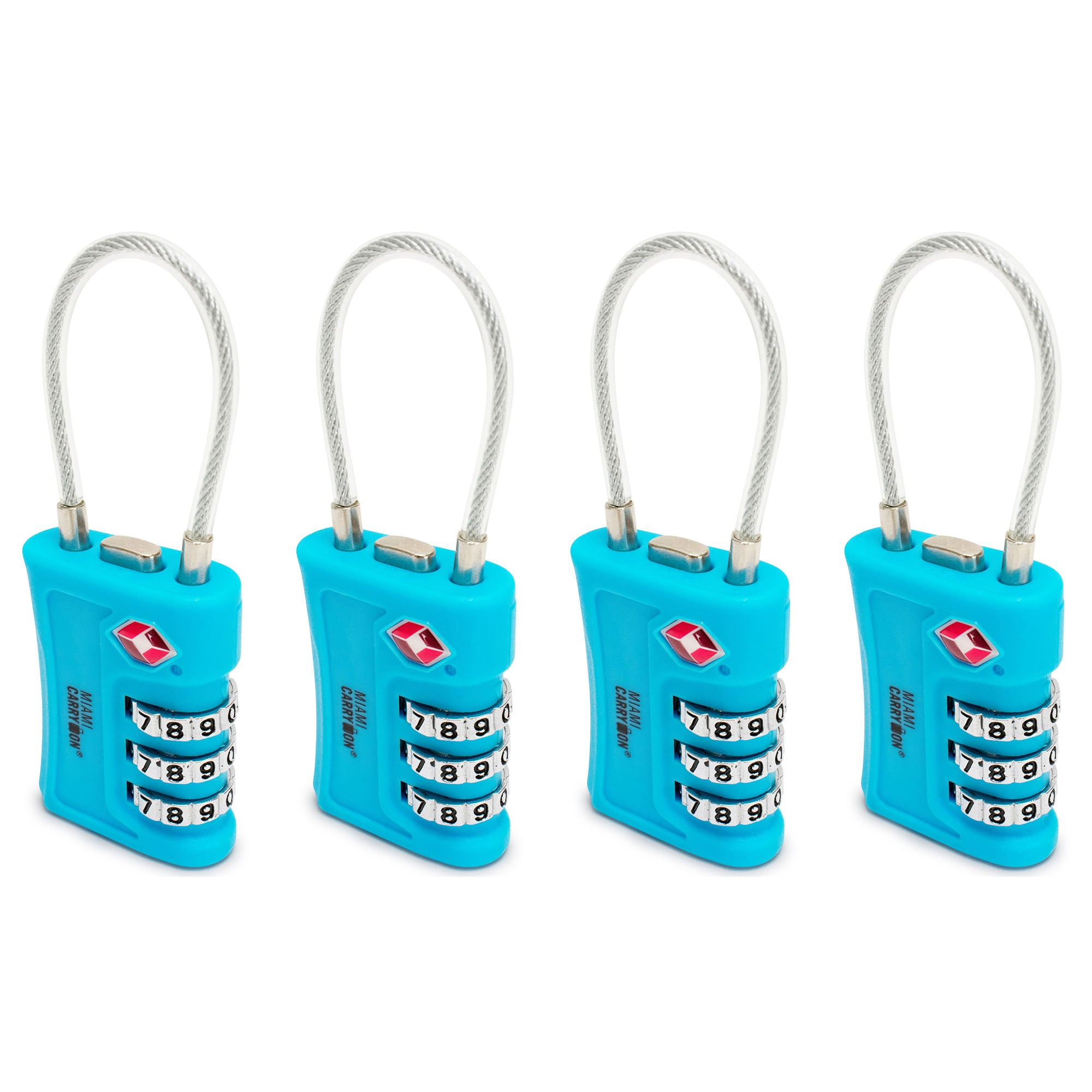 TSA Approved Cable Combination Padlock [VALUE SET] - Light Blue / 4 Pack - Travellty