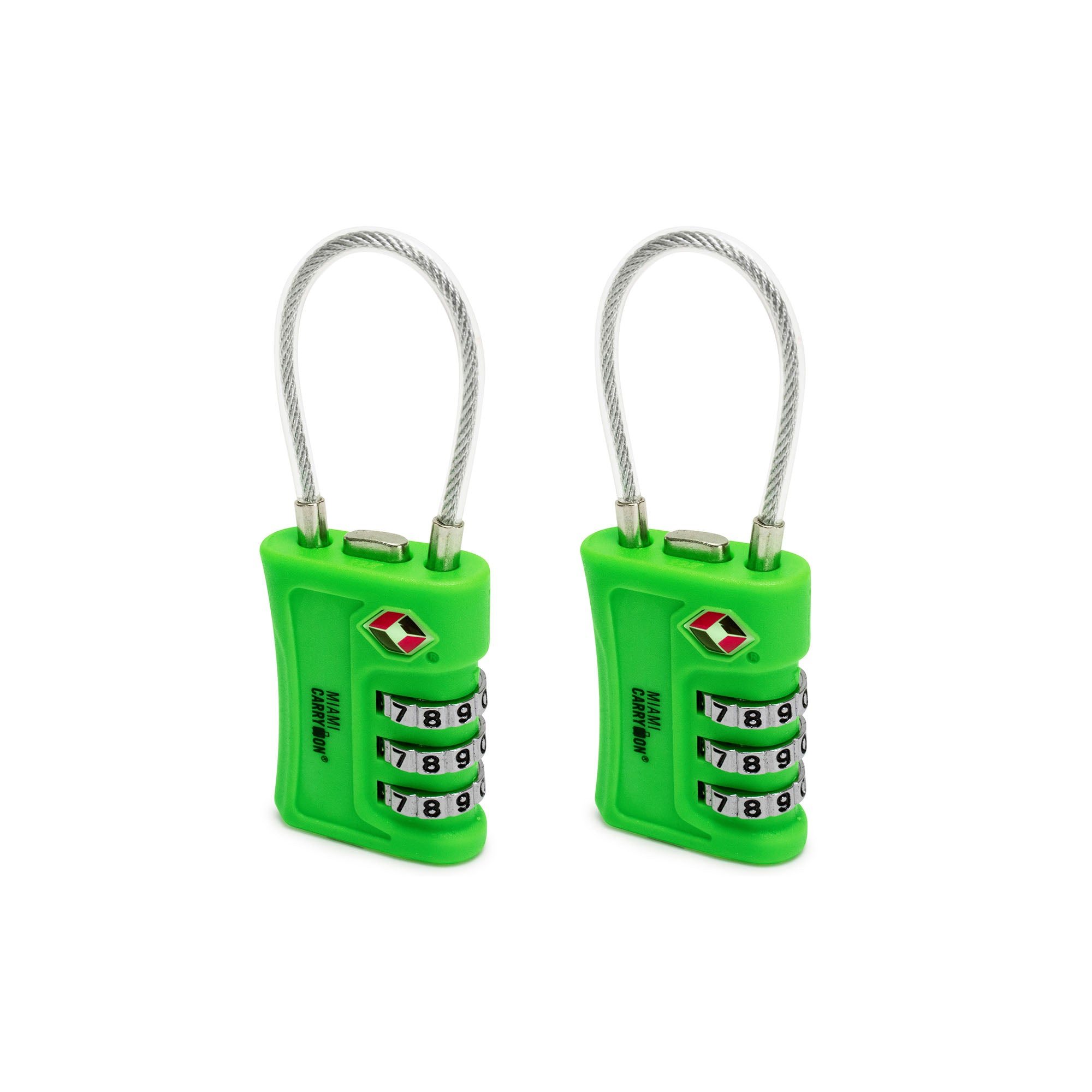 TSA Approved Cable Combination Padlock [VALUE SET] - Green / 2 Pack - Travellty