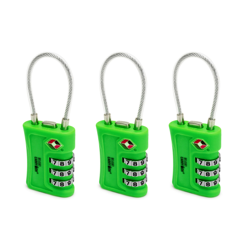 TSA Approved Cable Combination Padlock [VALUE SET] - Green / 3 Pack - Travellty