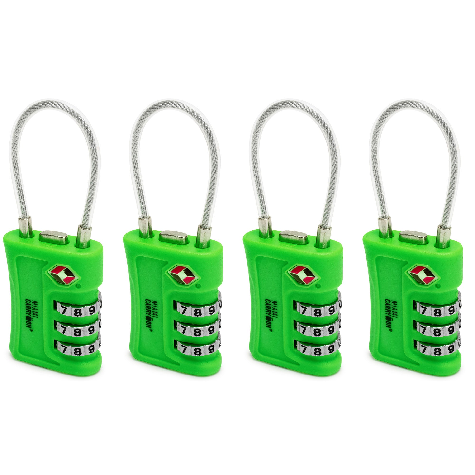 TSA Approved Cable Combination Padlock [VALUE SET] - Green / 4 Pack - Travellty