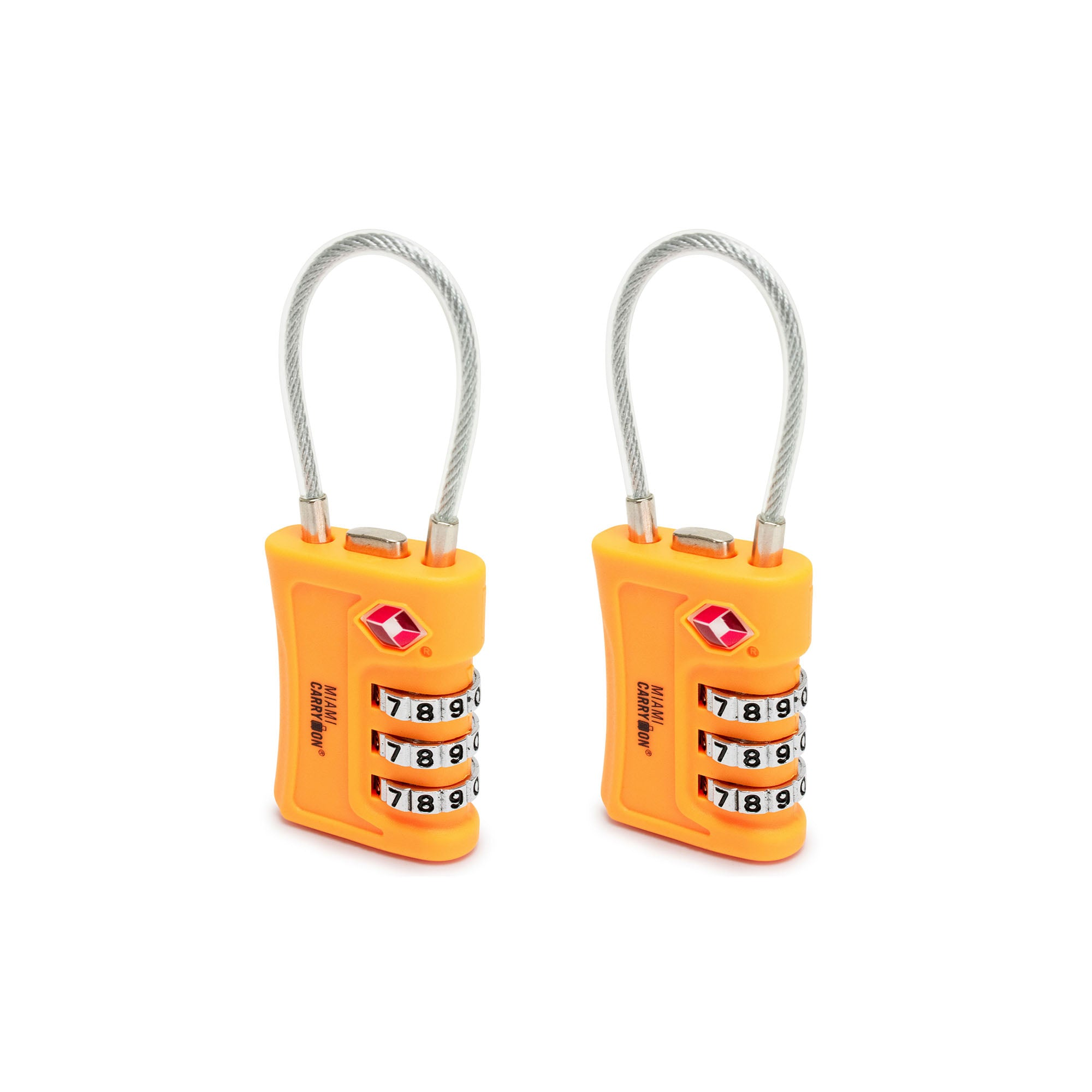 TSA Approved Cable Combination Padlock [VALUE SET] - Orange / 2 Pack - Travellty