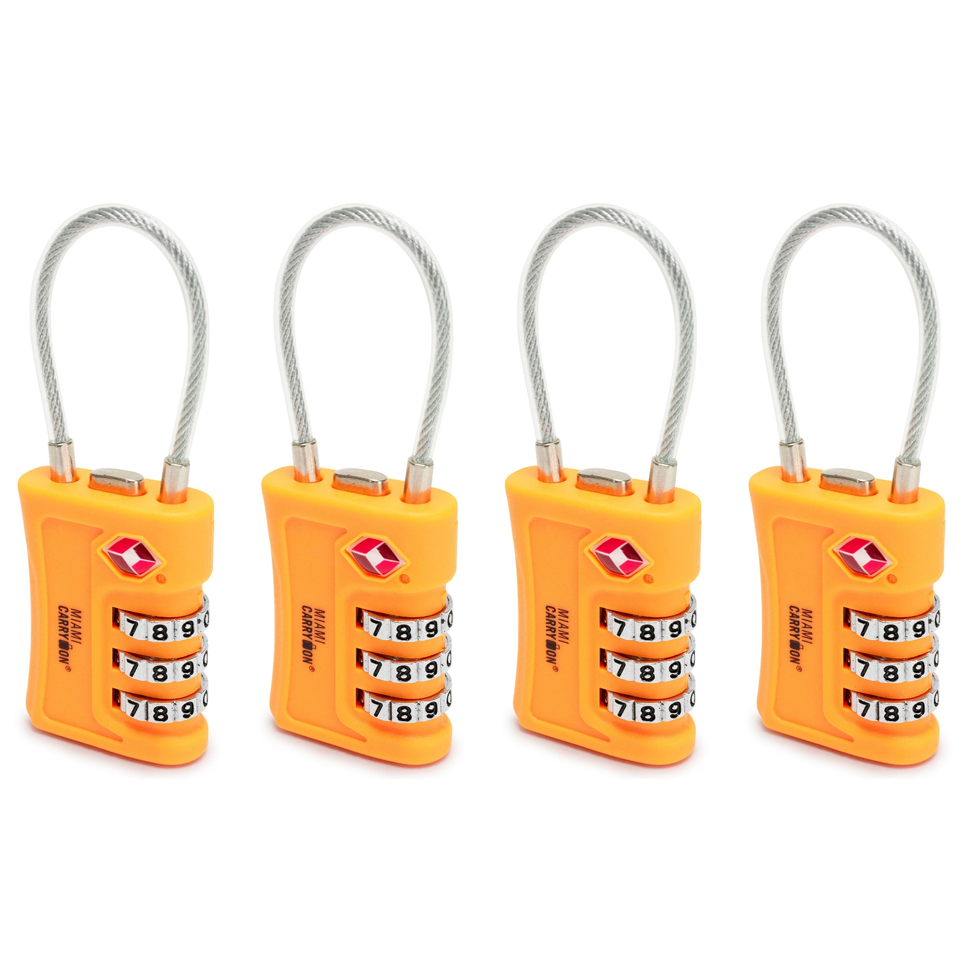 TSA Approved Cable Combination Padlock [VALUE SET] - Orange / 4 Pack - Travellty
