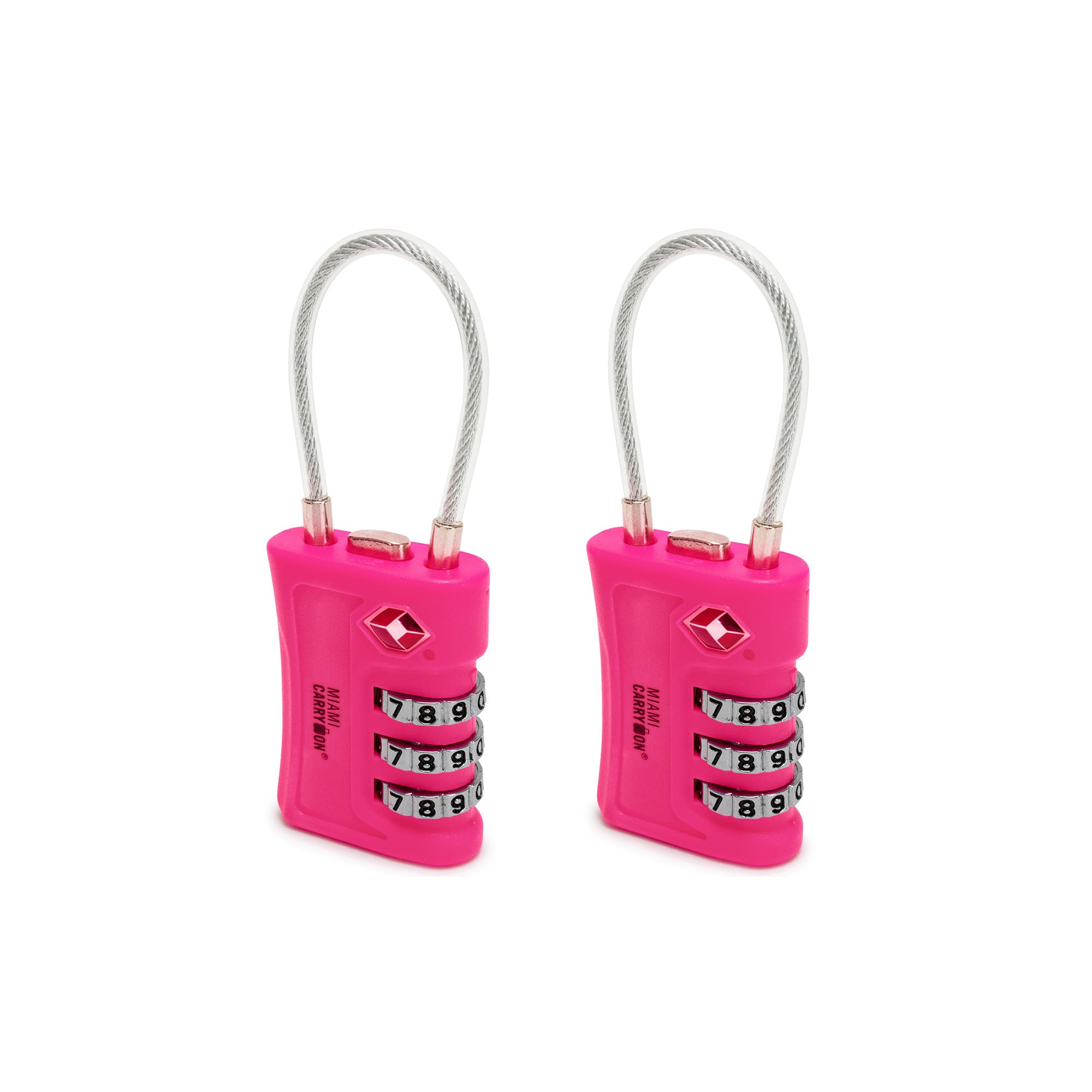TSA Approved Cable Combination Padlock [VALUE SET] - Pink / 2 Pack - Travellty