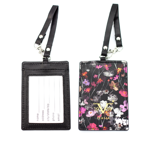 Runway Vegan Leather Luggage Tags Set - Watercolor Flowers - Travellty