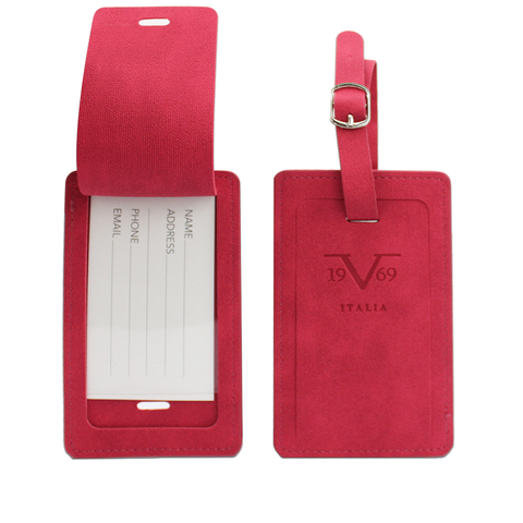 Classic Vegan Leather Luggage Tags Set - Red - Travellty