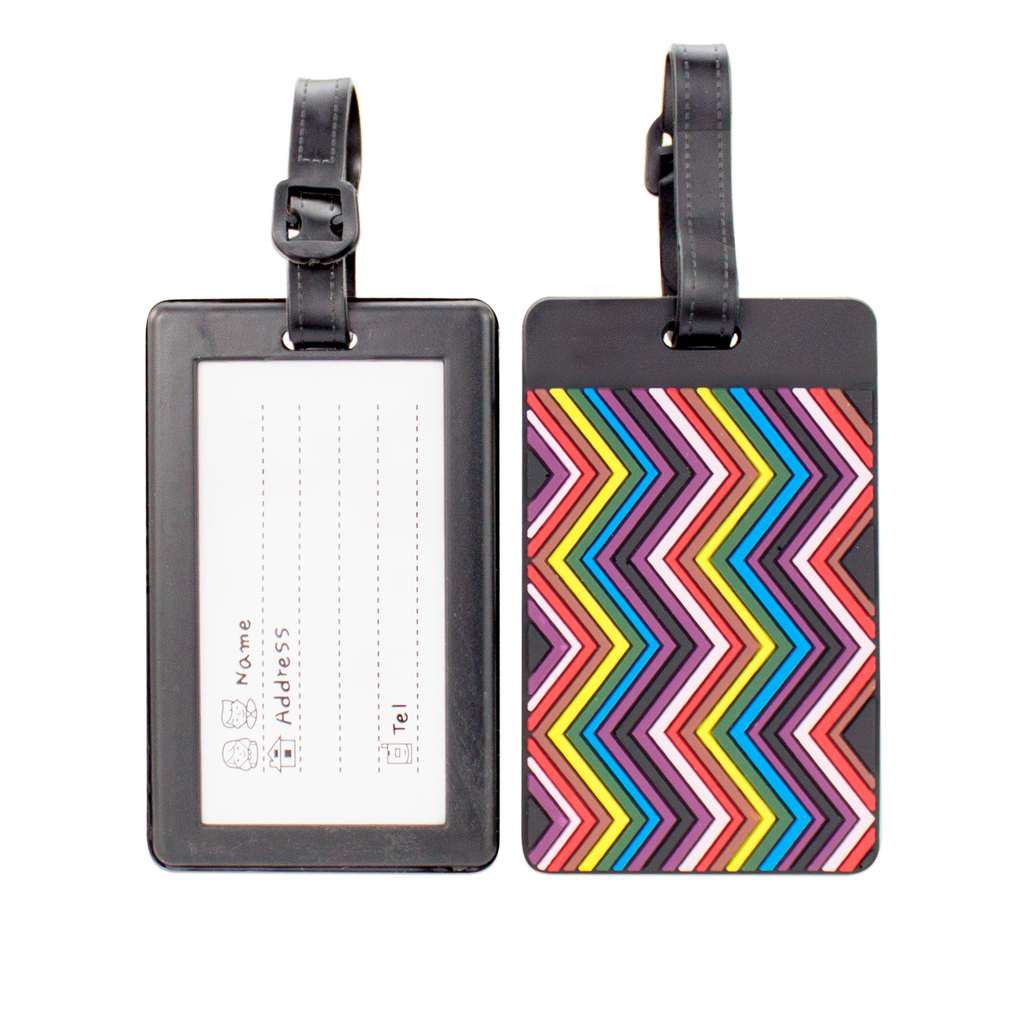 Colorful Collection Luggage Tags Set of 2 - Rainbow Chevron - Travellty