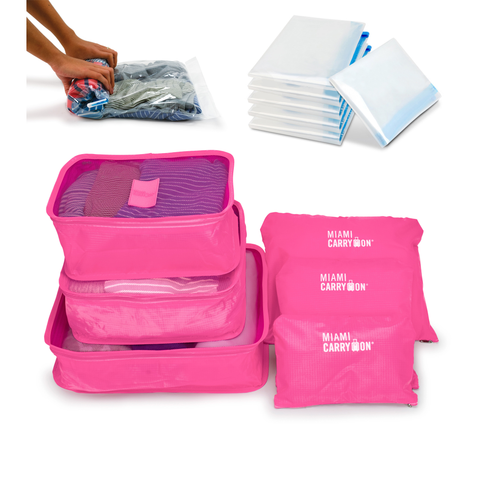 Organizing 10 Piece Kit with Packing Cubes and Space saving Bags - Pink - Travellty