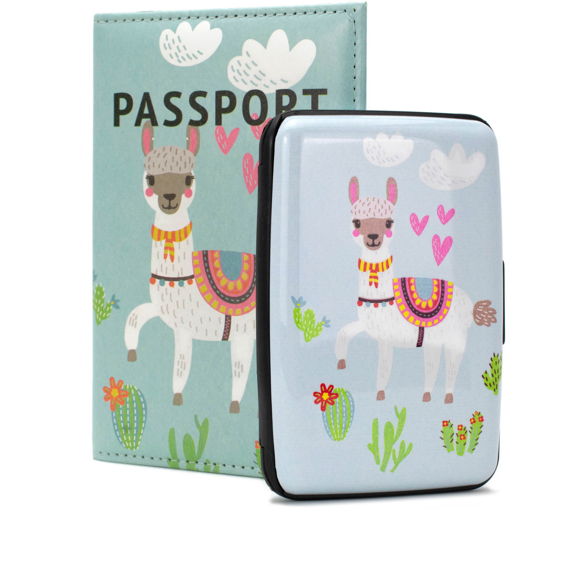 RFID Wallet & Passport Cover Set - Llama Love - Travellty