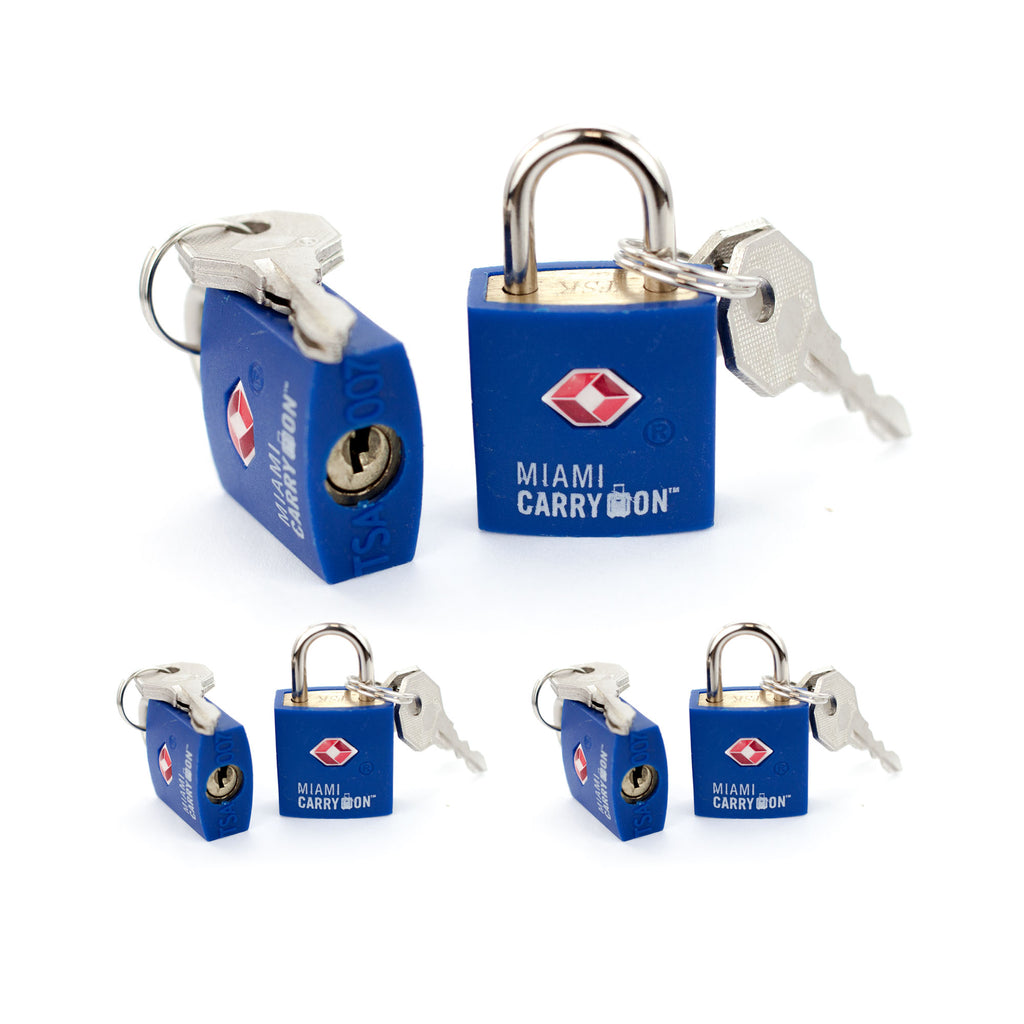 TSA Approved Keyed Padlock [VALUE SET] - Blue / 6 Pack - Travellty