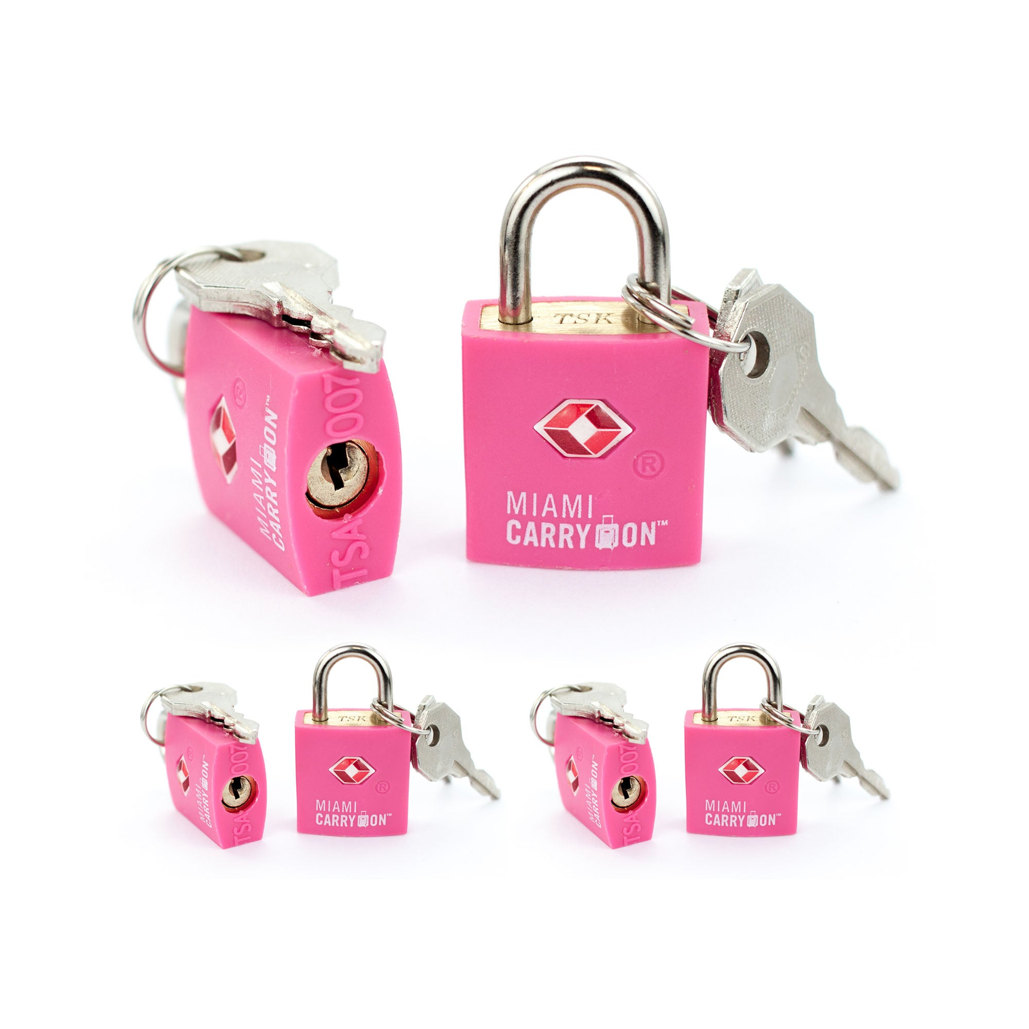 TSA Approved Keyed Padlock [VALUE SET] - Pink / 6 Pack - Travellty