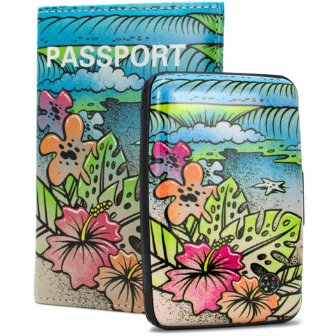 RFID Wallet & Passport Cover Set - Life is a Beach - Travellty