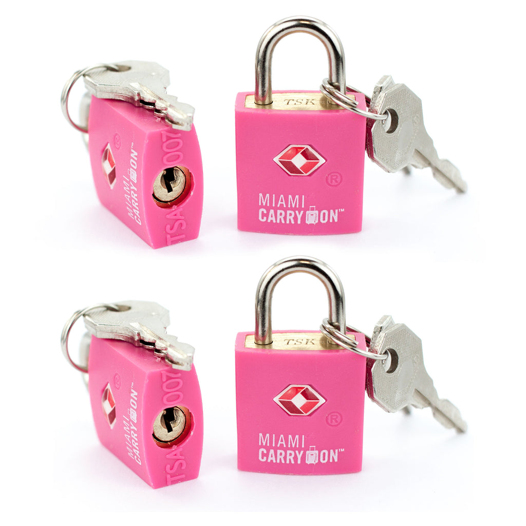 TSA Approved Keyed Padlock [VALUE SET] - Pink / 4 Pack - Travellty