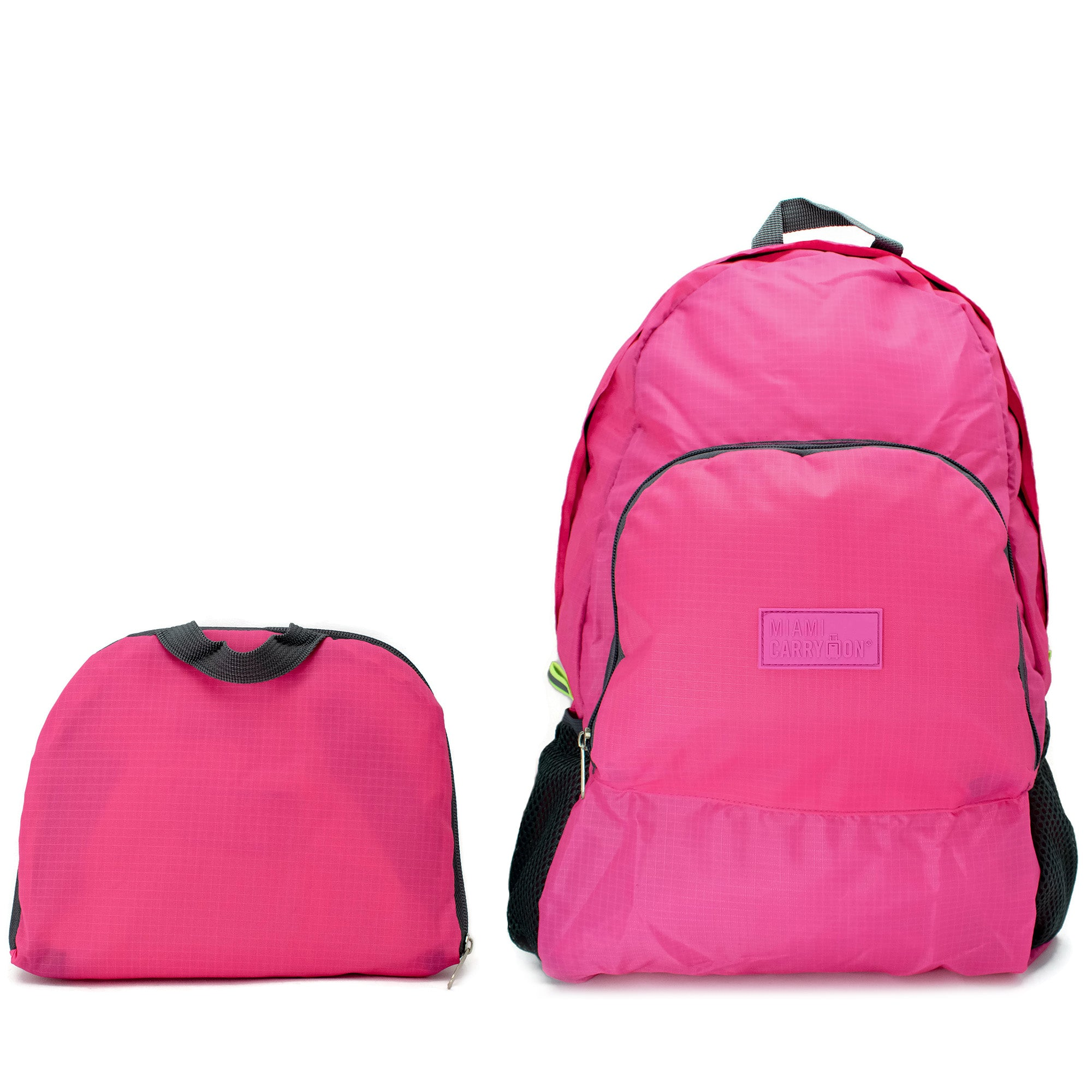 Water-resistant Foldable Backpack - Hot Pink - Travellty