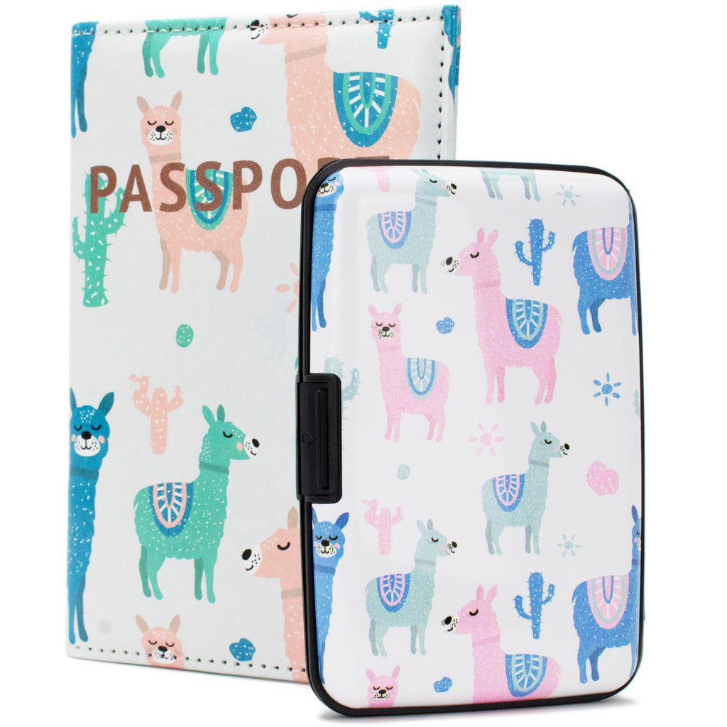 RFID Wallet & Passport Cover Set - Llamas in color - Travellty