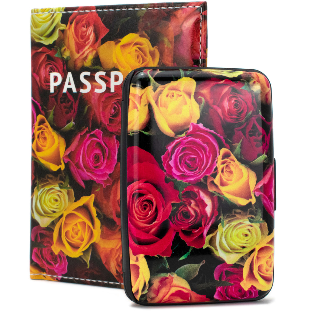 RFID Wallet & Passport Cover Set - Roses Garden - Travellty