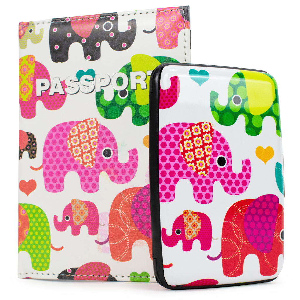 RFID Wallet & Passport Cover Set - Patterned Elephants - Travellty