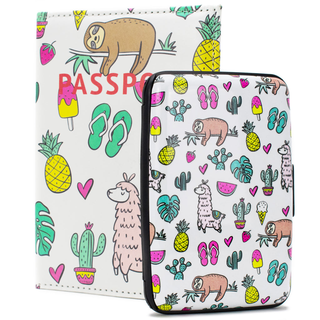 RFID Wallet & Passport Cover Set - Sloths and Llamas - Travellty
