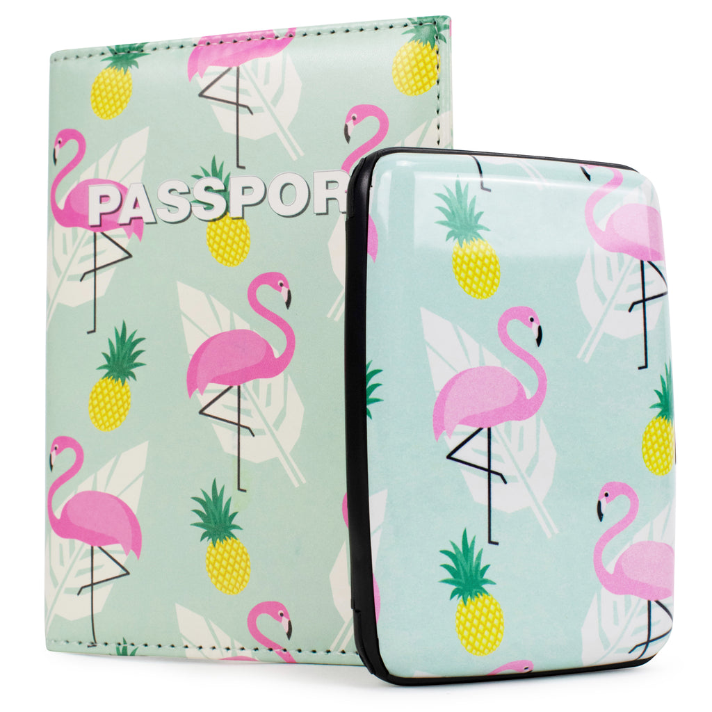 RFID Wallet & Passport Cover Set - Flamingos and Pineapples - Travellty