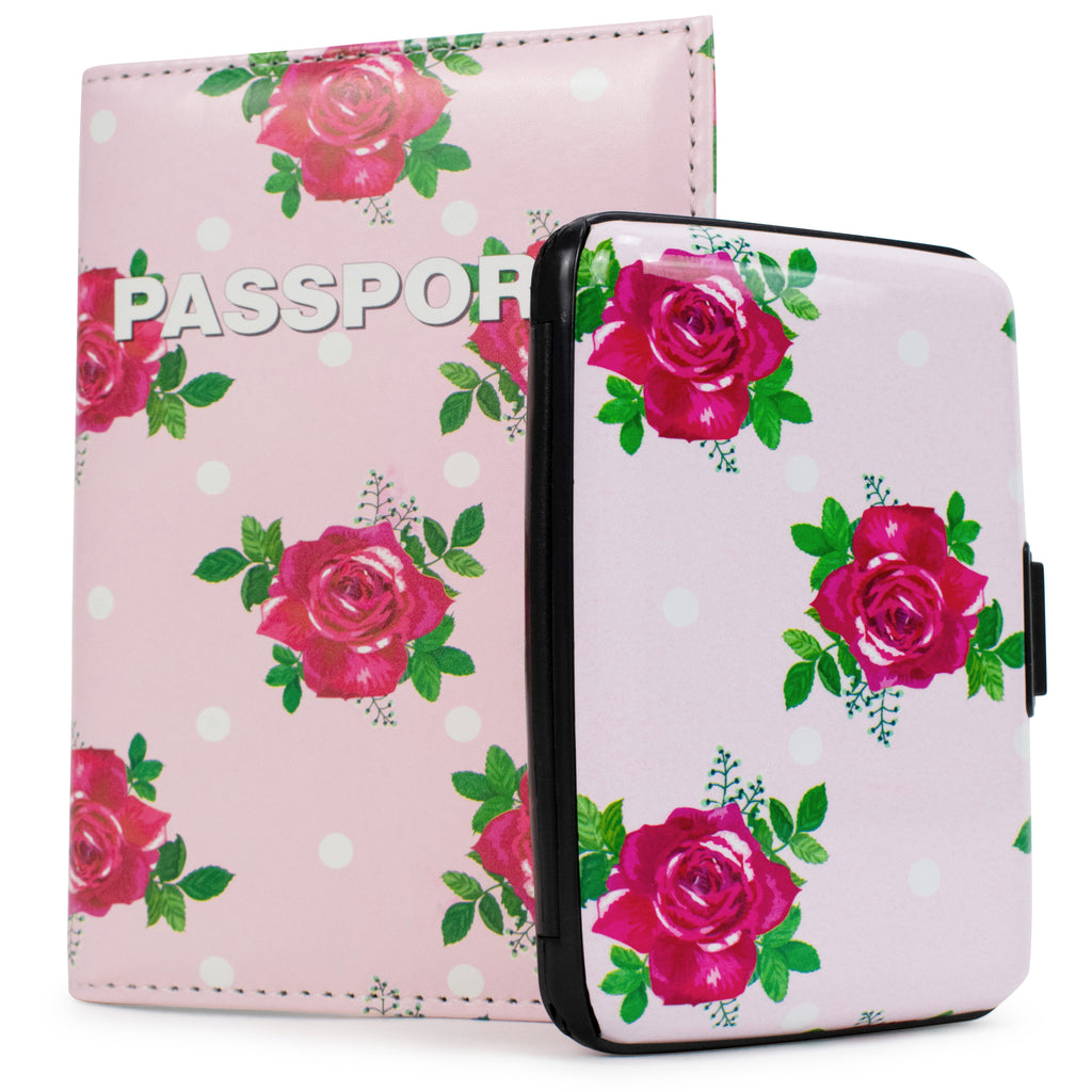 RFID Wallet & Passport Cover Set - Polka Roses - Travellty