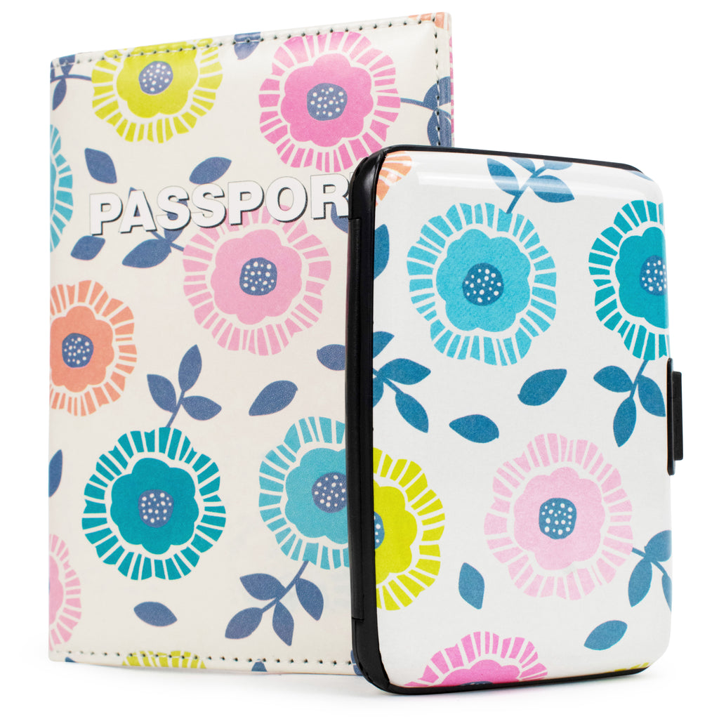 RFID Wallet & Passport Cover Set - Retro Flowers - Travellty