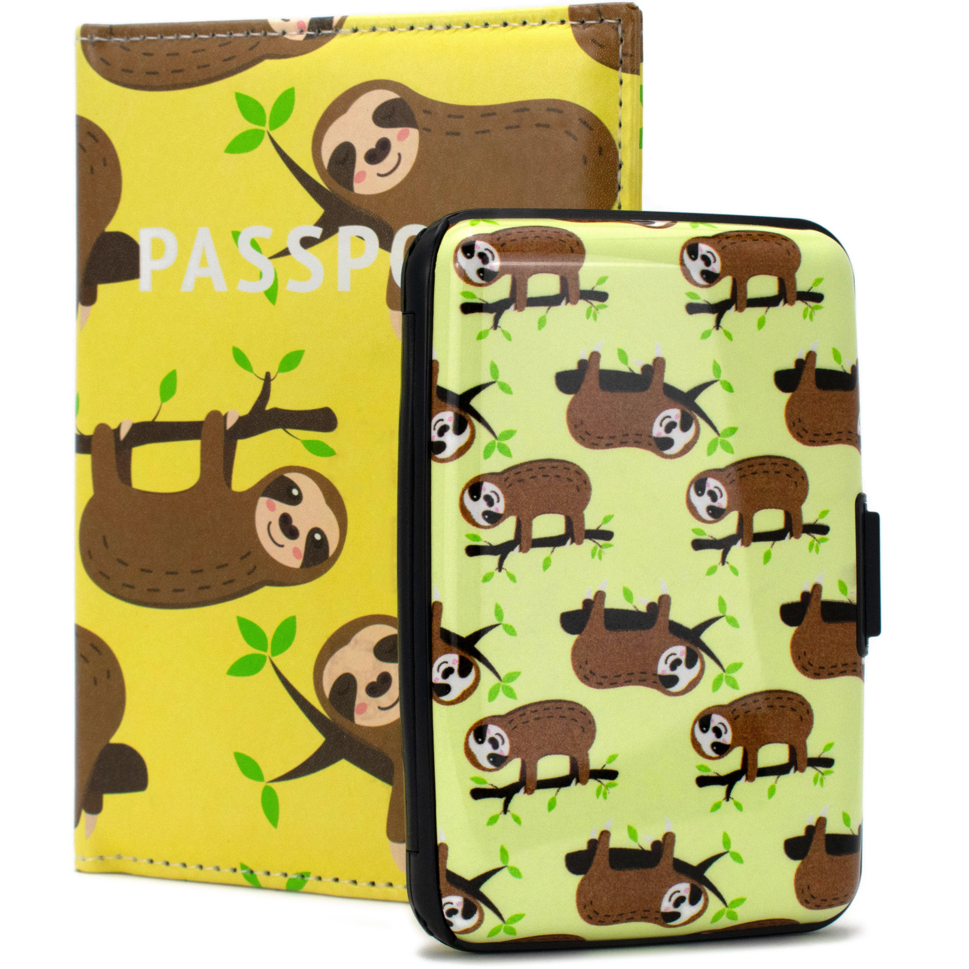 RFID Wallet & Passport Cover Set - Happy Sloths - Travellty